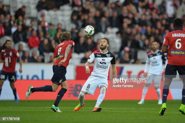 Lucas Deaux of Guingamp and Xeka of Lille during the Ligue 1 match between Lille OSC and EA Guingamp at Stade PierreMauroy on April 22 2017 in Lille...