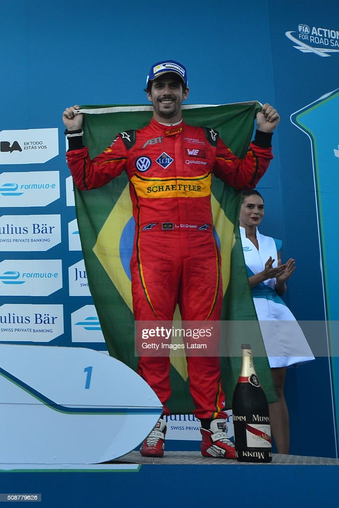<a gi-track='captionPersonalityLinkClicked' href=/galleries/search?phrase=Lucas+di+Grassi&family=editorial&specificpeople=4237493 ng-click='$event.stopPropagation()'>Lucas di Grassi</a> of ABT Schaeffler Audi Sport celebrates after finishing third on the Buenos Aires ePrix as part of 2015-2016 FIA Formula E Championship at Puerto Madero Street Race Track on February 06, 2016 in Buenos Aires, Argentina.
