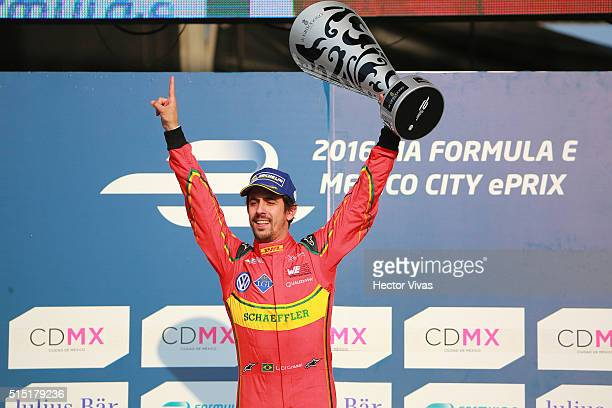 Lucas di Grassi of Brazil and ABT Schaeffler Audi Sport celebrates after winning the Mexico City Formula E Championship 2016 at Autodromo Hermanos...