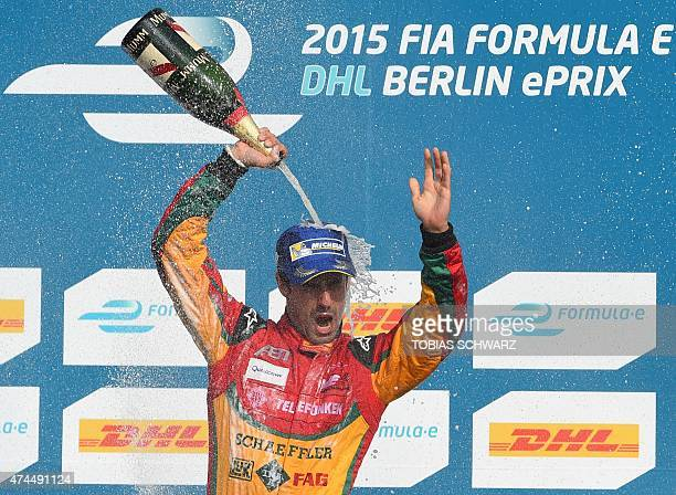 Lucas Di Grassi of Team Audi Sport Abt reacts during the victory ceremony after the 2015 Fia Formula E Berlin championships in Berlin May 23 2015 Di...