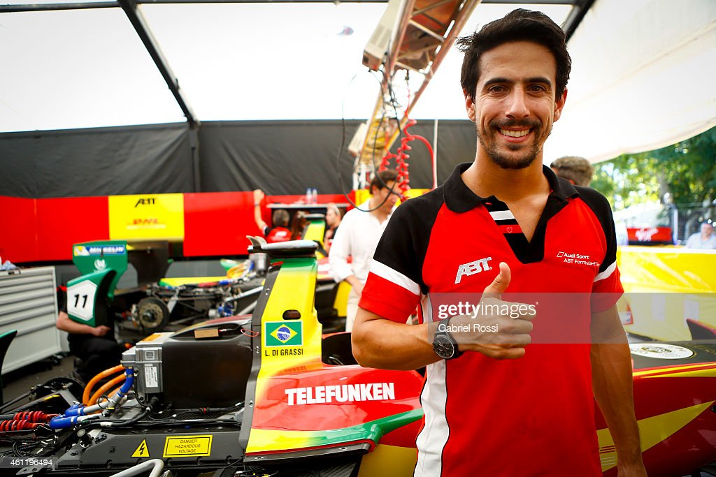 Lucas Di Grassi poses for pictures next to his car during a paddock preview at Puerto Madero Street Race Track on January 08, 2015 in Buenos Aires, Argentina.