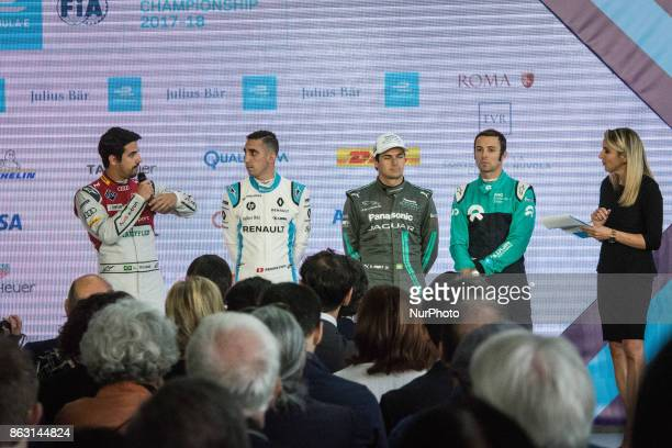 Lucas Di Grassi Sebastien Buemi Nelson Piquet Jr and Luca Filippi attend a press conference in Rome Italy on October 19 2017 Rome will be hosting a...