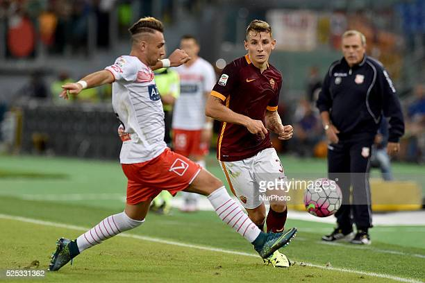 Lucas Digne and Gaetano Letizia fight for the ball during the Italian Serie A match between AS Roma and FC Carpi at Stadio Olimpico in Rome on...