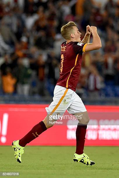 Lucas Digne celebrates after he scored 51 for Roma during the Italian Serie A match between AS Roma and FC Carpi at Stadio Olimpico in Rome on...