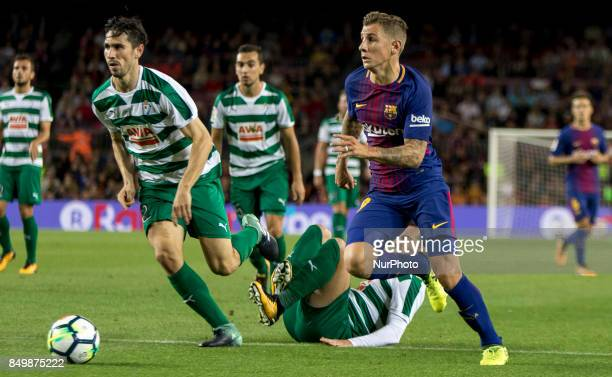 Lucas Digne during the spanish league match between FC Barcelona and Eibar at Camp Nou Stadium in Barcelona Spain on September 19 2017