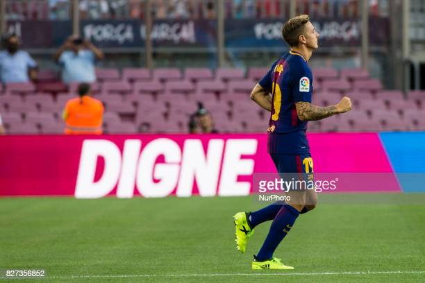 19 Lucas Digne from France of FC Barcelona during the team presentation after the Joan Gamper trophy match between FC Barcelona vs Chapecoense at...