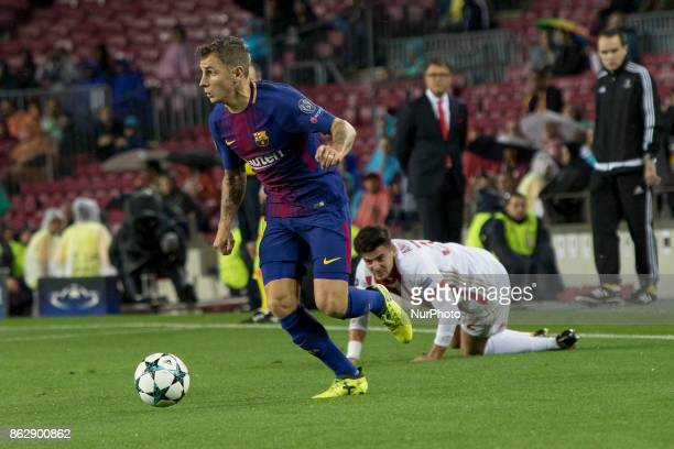 Lucas Digne in action during the UEFA Champions League match between FC Barcelona and Olympiacos FC in Barcelona on October 19 2017