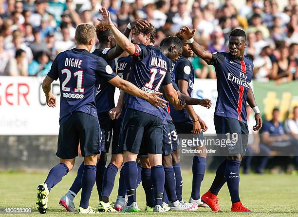 Lucas Digne Maxwell Scherrer Cabelino Andrade Serge Aurier and team mates of Paris SaintGermain celebrate after scoring during the Friendly Match...
