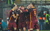 Lucas Digne of AS Roma celebrates after scoring his opening goal during the Serie A match between Carpi FC and AS Roma at Alberto Braglia Stadium on...