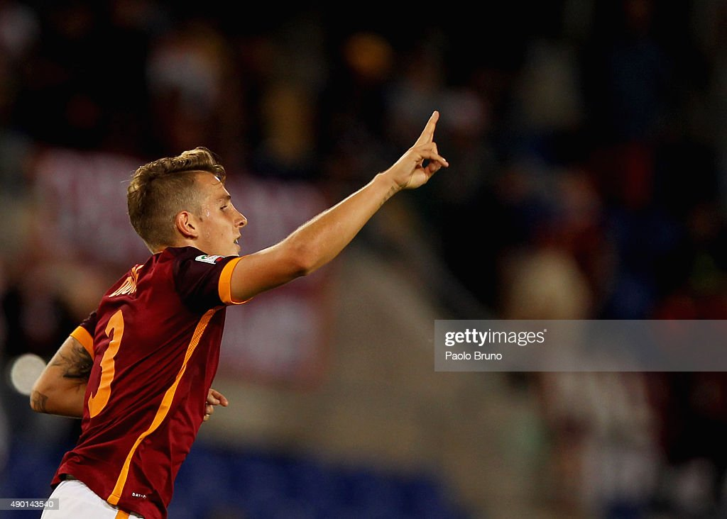 <a gi-track='captionPersonalityLinkClicked' href=/galleries/search?phrase=Lucas+Digne&family=editorial&specificpeople=5805298 ng-click='$event.stopPropagation()'>Lucas Digne</a> of AS Roma celebrates after scoring the team's fifth goal during the Serie A match between AS Roma and Carpi FC at Stadio Olimpico on September 26, 2015 in Rome, Italy.