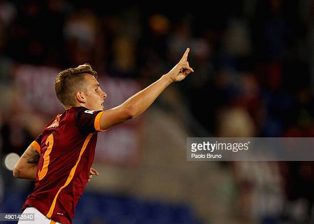 Lucas Digne of AS Roma celebrates after scoring the team's fifth goal during the Serie A match between AS Roma and Carpi FC at Stadio Olimpico on...
