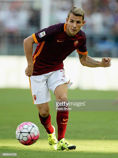 Lucas Digne of AS Roma in action during the Serie A match between AS Roma and Juventus FC at Stadio Olimpico on August 30 2015 in Rome Italy