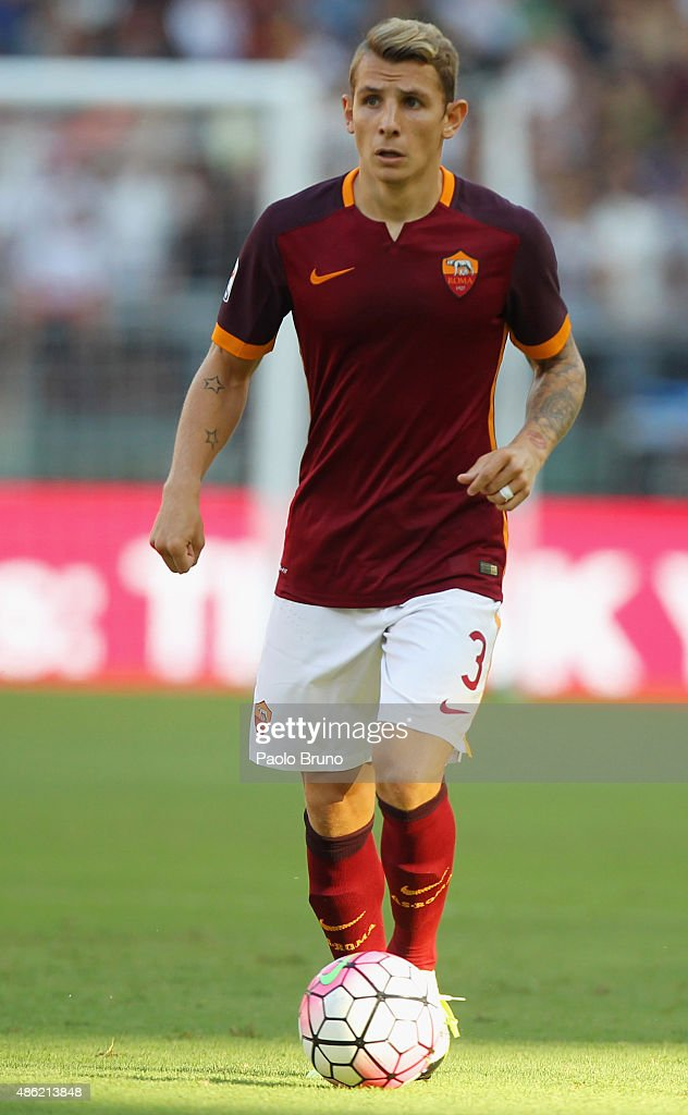 <a gi-track='captionPersonalityLinkClicked' href=/galleries/search?phrase=Lucas+Digne&family=editorial&specificpeople=5805298 ng-click='$event.stopPropagation()'>Lucas Digne</a> of AS Roma in action during the Serie A match between AS Roma and Juventus FC at Stadio Olimpico on August 30, 2015 in Rome, Italy.