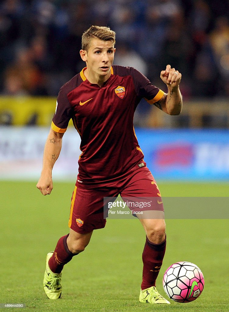 <a gi-track='captionPersonalityLinkClicked' href=/galleries/search?phrase=Lucas+Digne&family=editorial&specificpeople=5805298 ng-click='$event.stopPropagation()'>Lucas Digne</a> of AS Roma in action during the Serie A match between UC Sampdoria and AS Roma at Stadio Luigi Ferraris on September 23, 2015 in Genoa, Italy.