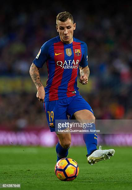 Lucas Digne of Barcelona in action during the La Liga match between FC Barcelona and Malaga CF at Camp Nou stadium on November 19 2016 in Barcelona...