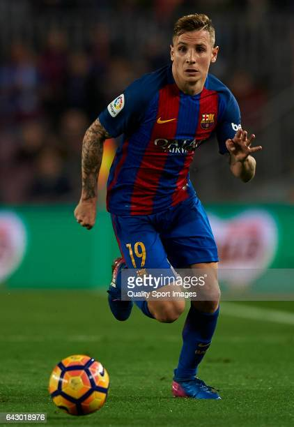 Lucas Digne of Barcelona in action during the La Liga match between FC Barcelona and CD Leganes at Camp Nou Stadium on February 19 2017 in Barcelona...