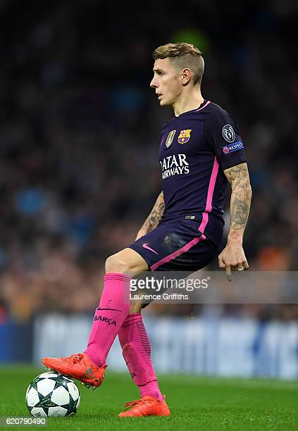 Lucas Digne of Barcelona in action during the UEFA Champions League match between Manchester City FC and FC Barcelona at Etihad Stadium on November 1...
