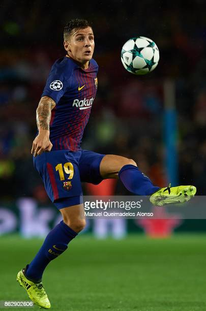 Lucas Digne of Barcelona in action during the UEFA Champions League group D match between FC Barcelona and Olympiakos Piraeus at Camp Nou on October...
