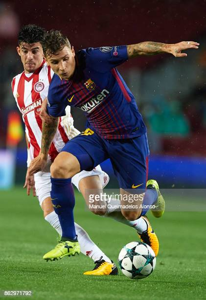 Lucas Digne of Barcelona runs with the ball during the UEFA Champions League group D match between FC Barcelona and Olympiakos Piraeus at Camp Nou on...