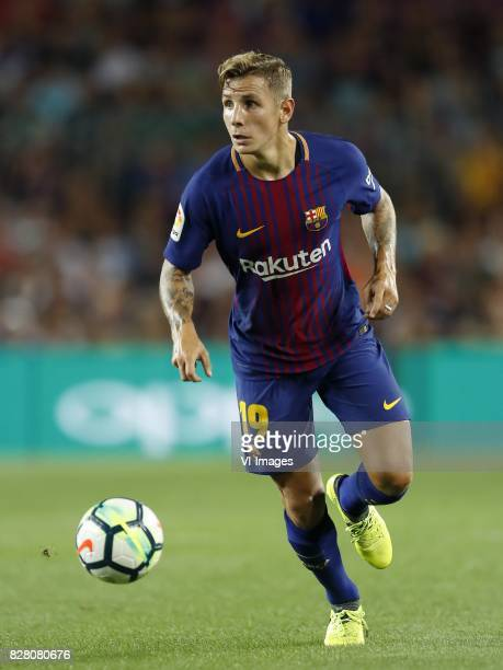 Lucas Digne of FC Barcelona during the Trofeu Joan Gamper match between FC Barcelona and Chapecoense on August 7 2017 at the Camp Nou stadium in...