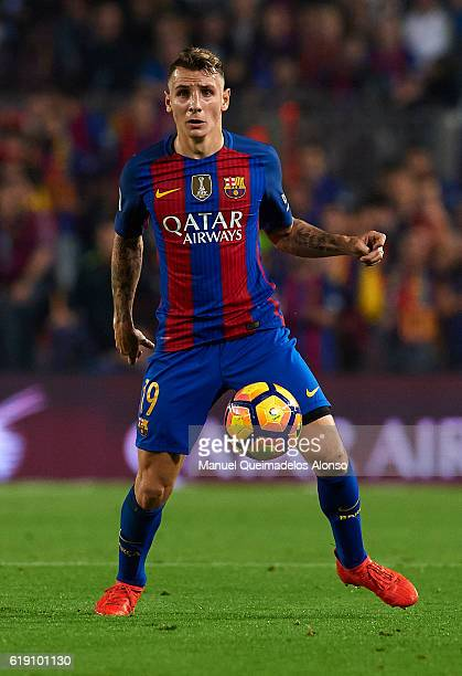 Lucas Digne of FC Barcelona in action during the La Liga match between FC Barcelona and Granada at Camp Nou stadium on October 29 2016 in Barcelona...