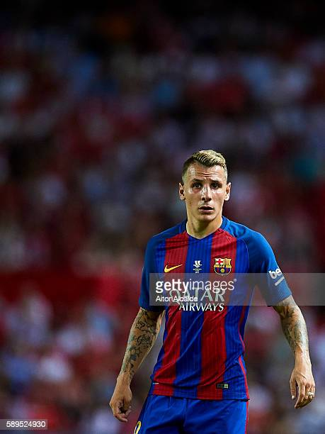 Lucas Digne of FC Barcelona looks on during the match between Sevilla FC vs FC Barcelona as part of the Spanish Super Cup Final 1st Leg at Estadio...
