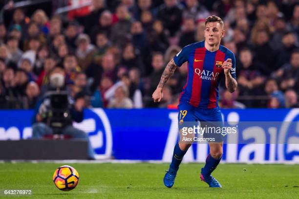 Lucas Digne of FC Barcelona plays the ball during the La Liga match between FC Barcelona and CD Leganes at Camp Nou stadium on February 19 2017 in...