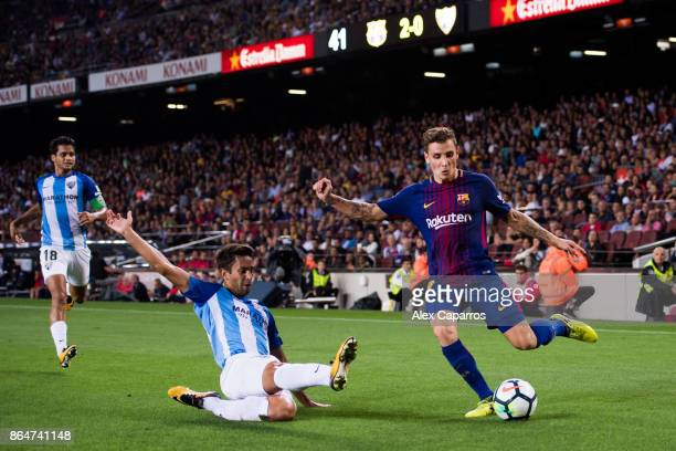 Lucas Digne of FC Barcelona plays the ball during the La Liga match between Barcelona and Malaga at Camp Nou on October 21 2017 in Barcelona Spain