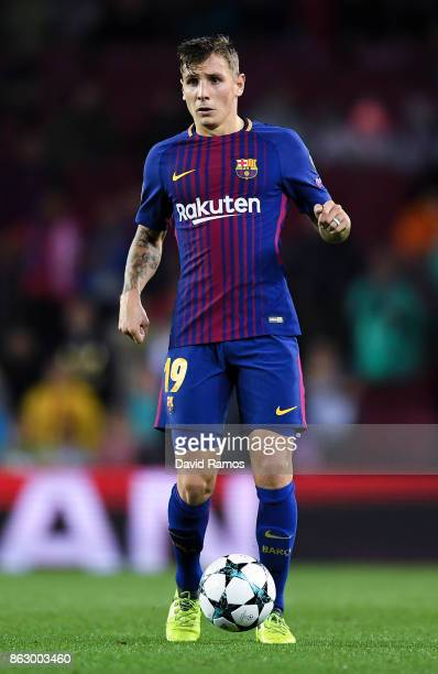 Lucas Digne of FC Barcelona runs with the ball during the UEFA Champions League group D match between FC Barcelona and Olympiakos Piraeus at Camp Nou...