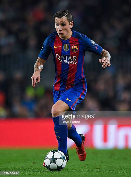 Lucas Digne of FC Barcelona runs with the ball during the UEFA Champions League match between FC Barcelona and VfL Borussia Moenchengladbach at Camp...