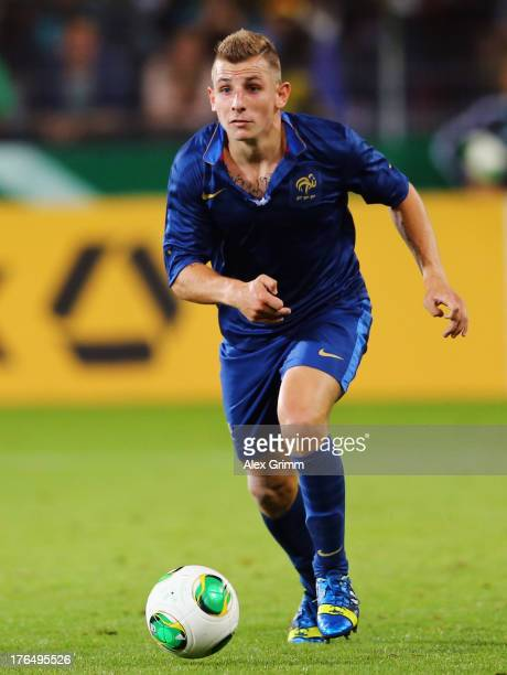 Lucas Digne of France controles the ball during the U21 match between Germany and France on August 13 2013 in Freiburg im Breisgau Germany