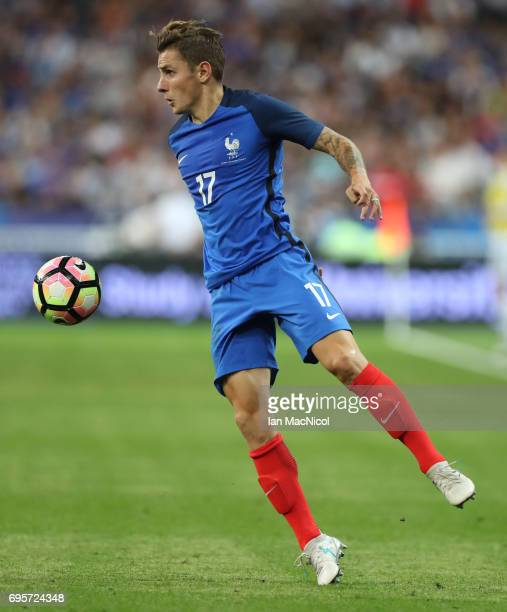 Lucas Digne of France controls the ball during the international Friendly match between France and England at Stade de France on June 13 2017 in...