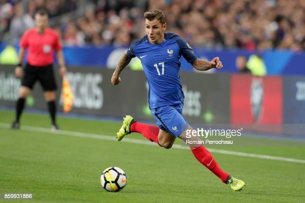 Lucas Digne of France in action during the FIFA 2018 World Cup Qualifier between France and Belarus at Stade de France on October 10 2017 in Paris