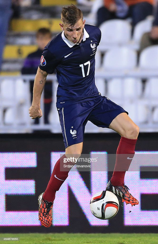 <a gi-track='captionPersonalityLinkClicked' href=/galleries/search?phrase=Lucas+Digne&family=editorial&specificpeople=5805298 ng-click='$event.stopPropagation()'>Lucas Digne</a> of France in action during the International friendly match between Serbia and France at the Stadium JNA on September 07, 2014 in Belgrade, Serbia, 2014.