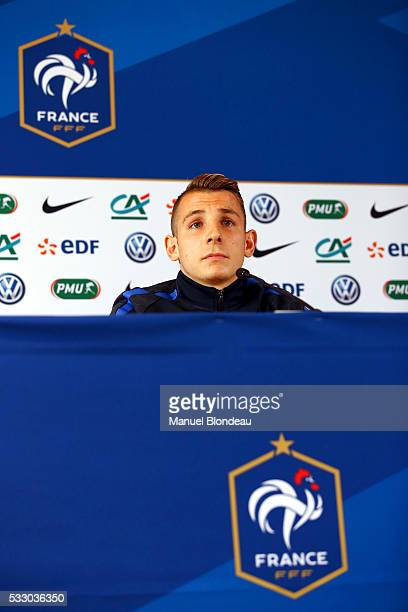 Lucas Digne of France in press conference during the preparation of the French National football Team for Euro 2016 on May 20 2016 in Biarritz France