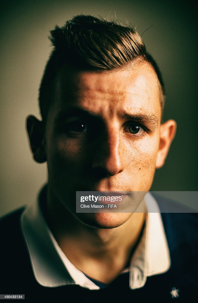 <a gi-track='captionPersonalityLinkClicked' href=/galleries/search?phrase=Lucas+Digne&family=editorial&specificpeople=5805298 ng-click='$event.stopPropagation()'>Lucas Digne</a> of France poses during the official FIFA World Cup 2014 portrait session on June 10, 2014 in Sao Paulo, Brazil.