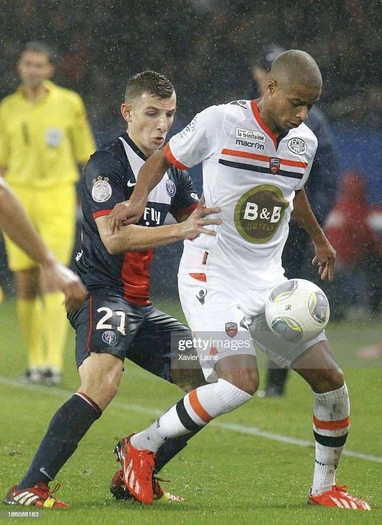 <a gi-track='captionPersonalityLinkClicked' href=/galleries/search?phrase=Lucas+Digne&family=editorial&specificpeople=5805298 ng-click='$event.stopPropagation()'>Lucas Digne</a> of Paris Saint-Germain and <a gi-track='captionPersonalityLinkClicked' href=/galleries/search?phrase=Kevin+Monnet-Paquet&family=editorial&specificpeople=4044138 ng-click='$event.stopPropagation()'>Kevin Monnet-Paquet</a> of Lorient FC during the French League 1 between Paris Saint-Germain FC and Lorient FC, at Parc des Princes on November 1, 2013 in Paris, France.