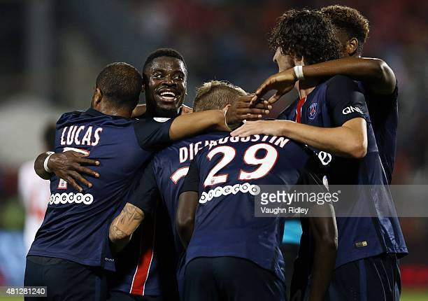 Lucas Digne of Paris SaintGermain celebrates with teammates after scoring a goal during the 2015 International Champions Cup match against Benfica at...