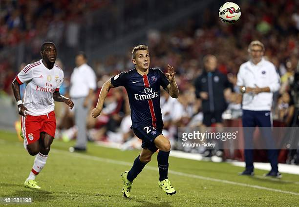 Lucas Digne of Paris SaintGermain chases a high ball during the 2015 International Champions Cup match at BMO Field on July 18 2015 in Toronto...
