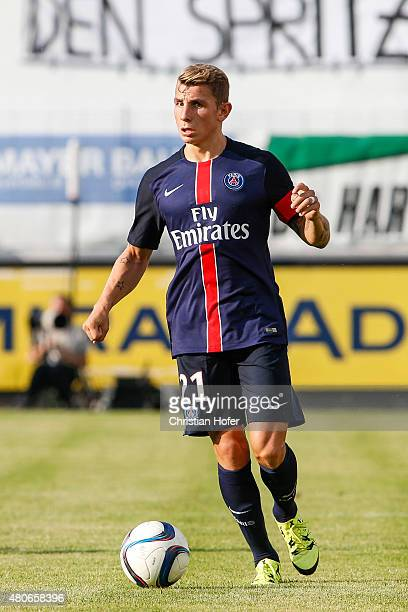 Lucas Digne of Paris SaintGermain controls the ball during the Friendly Match between Wiener Sportklub and Paris SaintGermain at Sportclub Platz on...