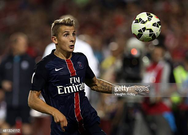 Lucas Digne of Paris SaintGermain in action during the 2015 International Champions Cup match against Benfica at BMO Field on July 18 2015 in Toronto...