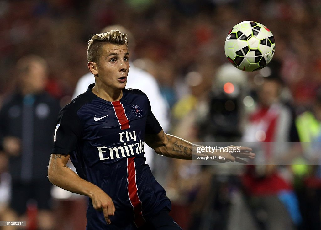 <a gi-track='captionPersonalityLinkClicked' href=/galleries/search?phrase=Lucas+Digne&family=editorial&specificpeople=5805298 ng-click='$event.stopPropagation()'>Lucas Digne</a> #21 of Paris Saint-Germain in action during the 2015 International Champions Cup match against Benfica at BMO Field on July 18, 2015 in Toronto, Ontario, Canada.