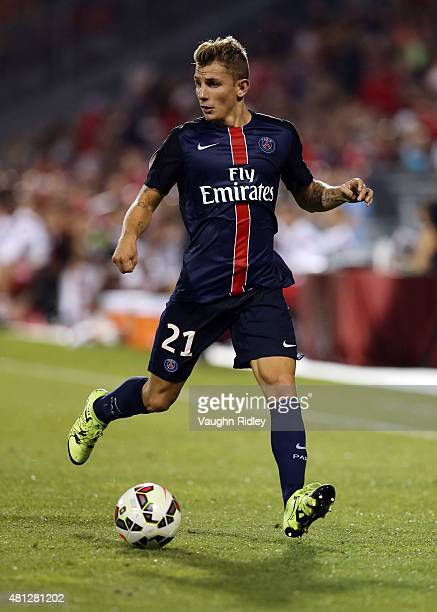 Lucas Digne of Paris SaintGermain plays the ball during the 2015 International Champions Cup match at BMO Field on July 18 2015 in Toronto Ontario...