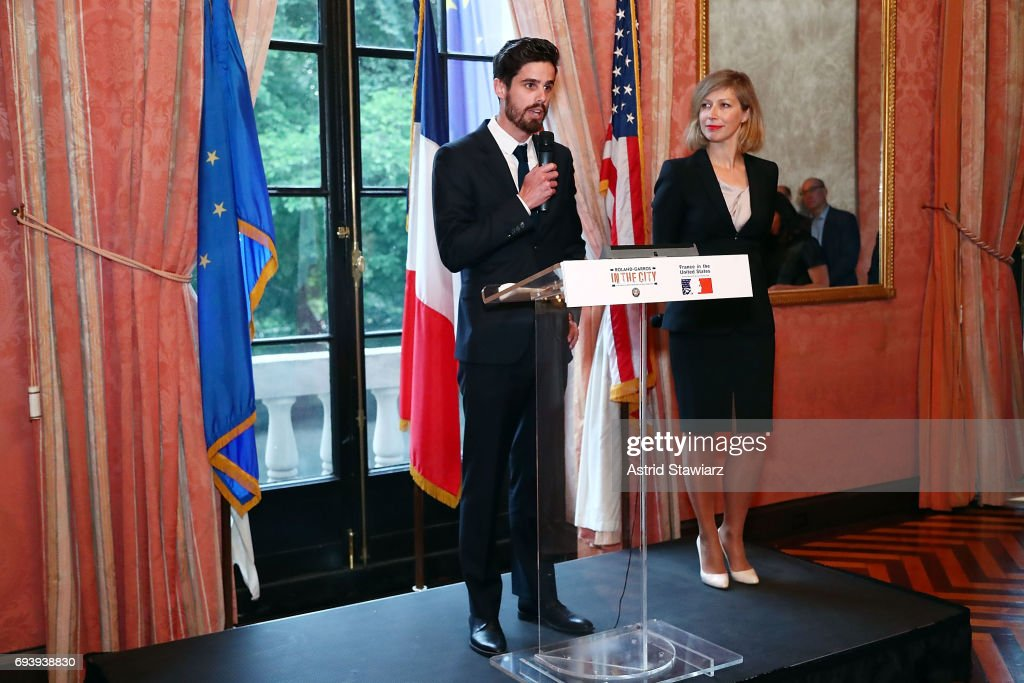 Lucas Dubourg and Consul General of France in New York, Anne-Claire Legendre attends Roland-Garros in the city reception at French Consulate on June 8, 2017 in New York City.