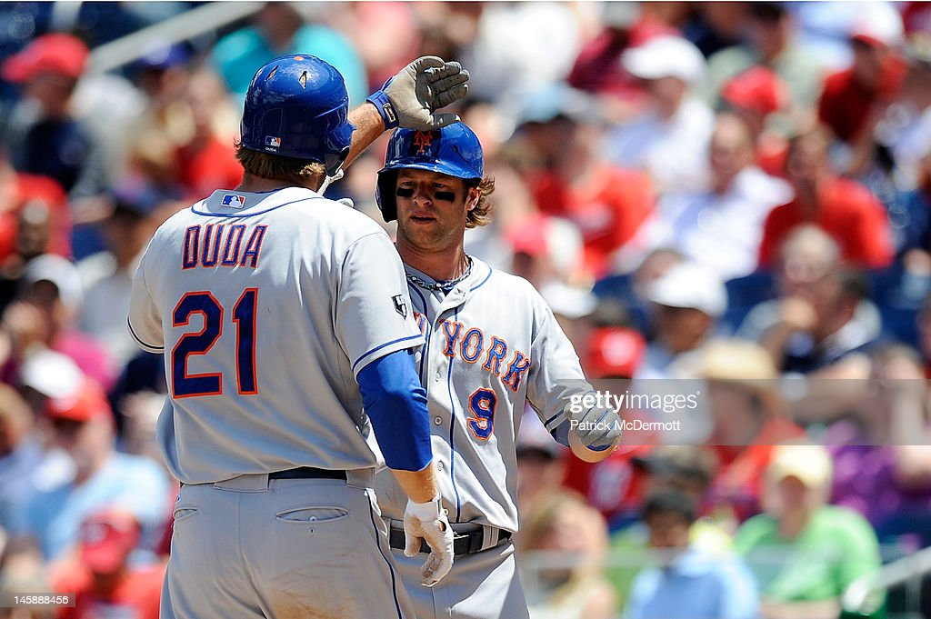 <a gi-track='captionPersonalityLinkClicked' href=/galleries/search?phrase=Lucas+Duda&family=editorial&specificpeople=7172550 ng-click='$event.stopPropagation()'>Lucas Duda</a> #21 celebrates with Kirk Nieuwenhuis #9 of the New York Mets after hitting a two run home run in the fifth inning against the Washington Nationals at Nationals Park on June 7, 2012 in Washington, DC.