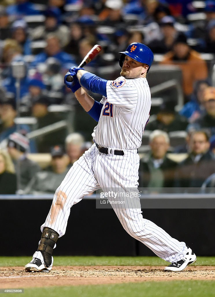 Lucas Duda of the New York Mets bats against the Kansas City Royals during Game 3 of the 2015 World Series at Citi Field on Friday October 30 2015 in...