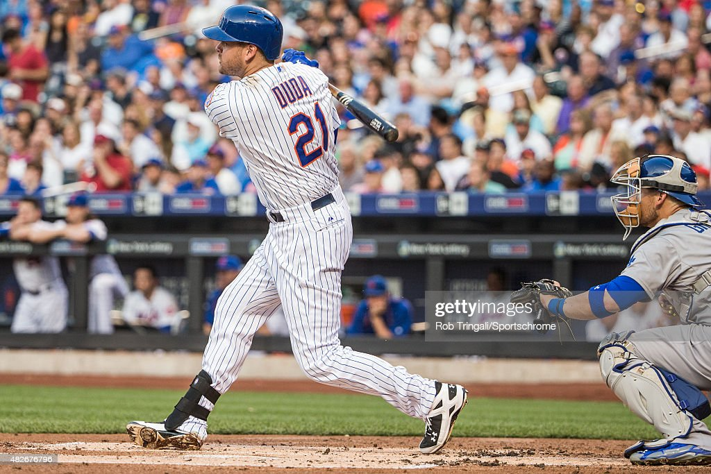 Lucas Duda of the New York Mets bats during the game against the Los Angeles Dodgers at Citi Field on July 25 2015 in the Queens borough of New York...