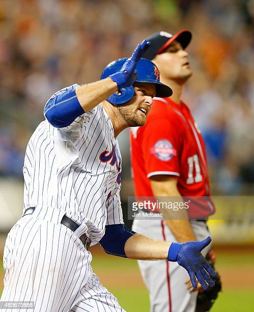Lucas Duda of the New York Mets celebrates his home run against the Washington Nationals at Citi Field on August 2 2015 in the Flushing neighborhood...