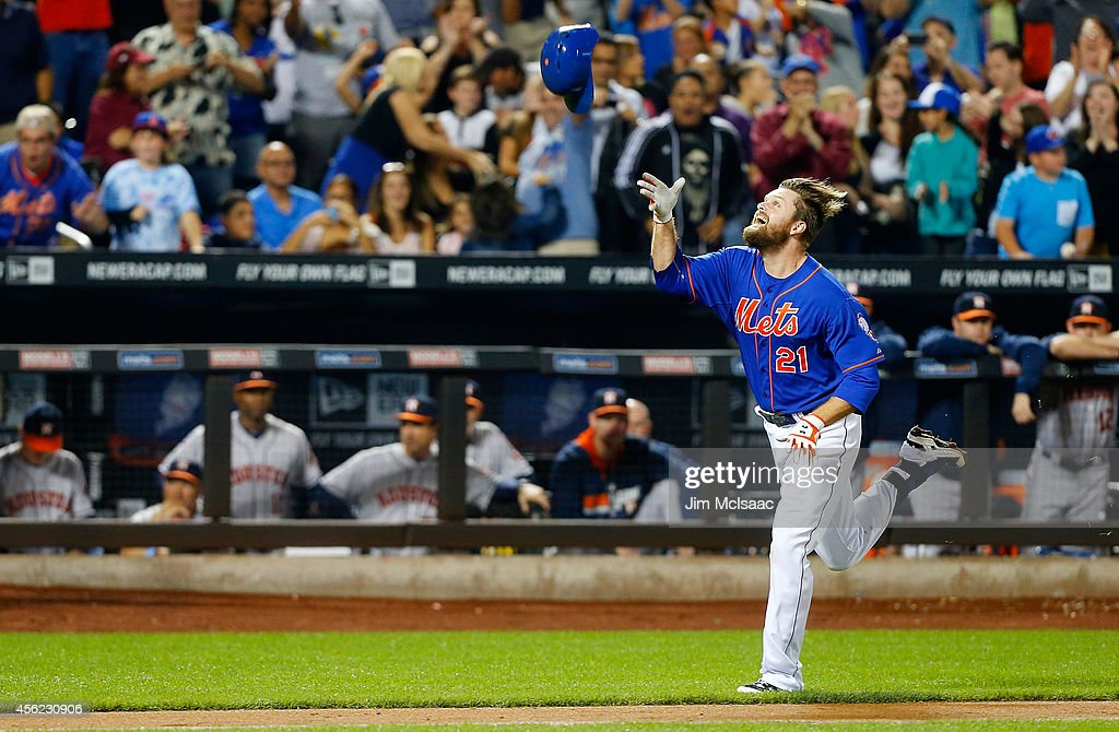 Lucas Duda of the New York Mets celebrates his ninth inning game winning two run home run against the Houston Astros at Citi Field on September 27...