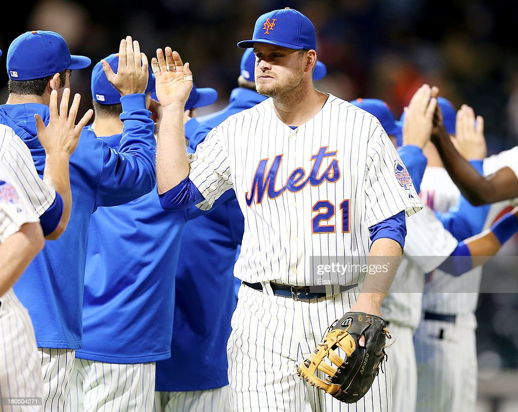 <a gi-track='captionPersonalityLinkClicked' href=/galleries/search?phrase=Lucas+Duda&family=editorial&specificpeople=7172550 ng-click='$event.stopPropagation()'>Lucas Duda</a> #21 of the New York Mets celebrates the win with teammates after the game against the Miami Marlins on August 13, 2013 at Citi Field in the Flushing neighborhood of the Queens borough of New York City. The New York Mets defeated the Miami Marlins 4-3.